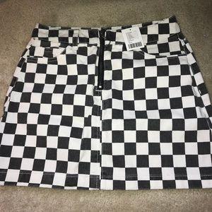 a6710aeaf2 Urban Outfitters Skirts   Bdg Checkered Denim Zip Mini Skirt   Poshmark
